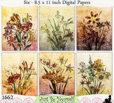 Shabby Vintage Flowers Set 3 Digital Prints by JustBYourself (Art & Collectibles, Prints, Digital Prints, digital paper pack, instant download, art journal papers, scrapbooking papers, printable paper, mixed media art, digital scrapbook, printable PDF papers, vintage flowers, commercial use, flower digital print, digital wall art, printable wall art)