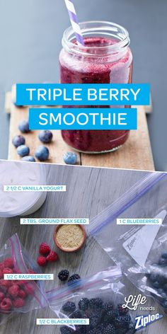 Who doesn\u2019t love a fresh fruit smoothie? This triple berry smoothie recipe is the perfect frozen snack for a hot summer day. If you don\u2019t have fresh berries, frozen are fine too; they\u2019ll add a nice icy crunch! #weightlosssmoothies