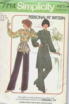 Pattern: Simplicity 7714  Details: Super cute pattern to make a dress, tunic or pants.  See Pictures for additional details. Zoom to enlarge photos.  Year Printed: 1976  Size: Misses size 8 ro 10 that fits a 31.5 and 32.5 inch bust.  Condition: Uncut and factory folded in very good condition.  All of my patterns are original patterns and you will be receiving the actual pattern shown in the pictures. Patterns are placed in plastic protective sleeves and are packaged with care. They are…