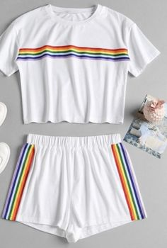 Striped Patched Shorts Set - White S Cute Lazy Outfits, Kids Outfits Girls, Sporty Outfits, Teenager Outfits, Cute Sleepwear, Pride Outfit, Rainbow Outfit, Pajama Outfits, Cute Pajamas