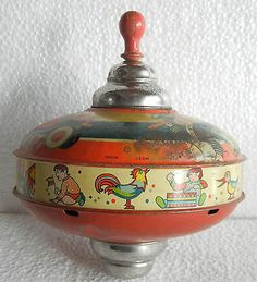 Huge-Vintage-Airplane-Train-Ship-Litho-Print-Spinning-Top-Tin-Toy-Germany