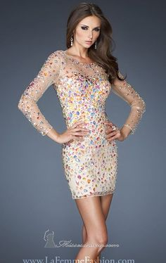 La Femme 19005 nude dress w/ multi-color gemstones