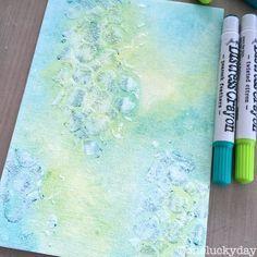 Distress crayons, crazing medium, stencils and media board to create a fun background + tutorial