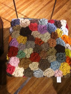 Crocheted rosettes for chair cover