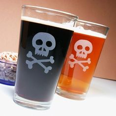 1 Pirate Skull and Crossbones  Etched Beer Glass by BreadandBadger, $15.00