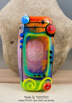 Love and Hope - Art Glass - Lampwork, free shaped Focal bead by Michou P. Anderson