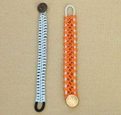 Pulseras de macramé: Fotos de diseños - Pareja de pulseras de macramé en azul y naranja