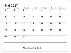 Calendrier mai 2017 à imprimer, gratuit. Calendrier mensuel : Tiberius (L). La semaine commence le lundi