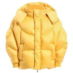 Chenpeng Women Oversized Hooded Puffer Down Jacket ($980) ❤ liked on Polyvore featuring men's fashion, men's clothing, men's outerwear, men's jackets, yellow, oversized hood jacket, yellow puffer jacket, zip front jacket, puffy jacket and puffer jacket