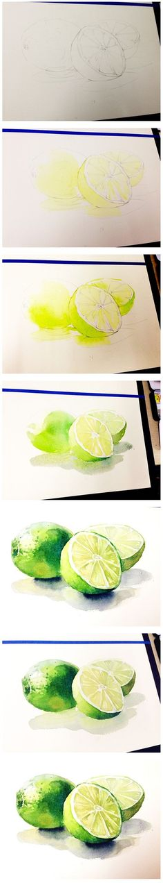 New painting ideas inspiration watercolor techniques 61 Ideas Watercolor Fruit, Watercolor Tips, Watercolour Tutorials, Watercolor Drawing, Watercolor Techniques, Watercolor Flowers, Painting & Drawing, Painting Abstract, Food Painting