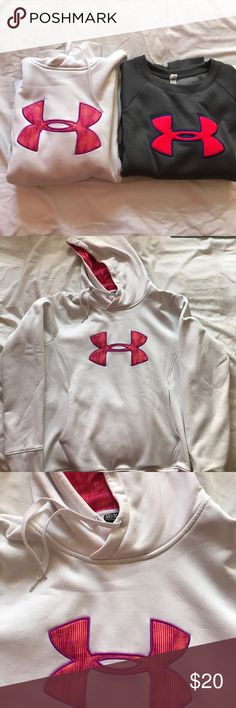 Under Armour Bundle Selling these two together! Grey Under Armour crew neck with coral/pink logo and middle pocket and white Under Armour Hoodie with orange and pink striped logo. White one has a little more wear. Am willing to split the bundle if you only want to buy one. Under Armour Sweaters
