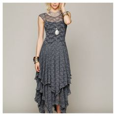 NWT Gray Lace Handkerchief Maxi Dress Sheer TopNWT. Check it out! Price: $25 Size: M-L, listed by livvielove