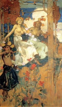 """Frank Brangwyn.  From a mural entitled """"Dancers"""" from around 1895"""