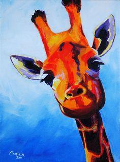 Giraffe - Wildlife Art Original Acrylic Painting on Canvas 6 x 8 - By Corina St. Martin on Etsy❤️