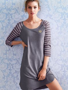 Three-quarter Sleeve Sleepshirt Signature Cotton... Victoria's Secret... Got this in this design (Black Pearl/Stripe Vs).... This looks sooooo comfy for the winter!!!! The only reason I bought so much yesterday is bc VS is having a HUGE SALE through Sept 17th- It's $150 off $500, $75 off $250, $30 off $150 and $15 off of $100 so HURRY HURRY ladies and go BUY, BUY, BUY!!!!!! Also you have to order each special in a separate order or it won't work.