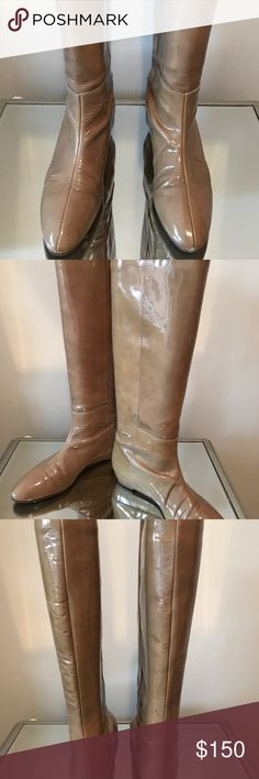 "Loeffler Randall Patent Leather Boots 1"" covered platform Calf height Petal pink color Polished look to any outfit Loeffler Randall Shoes Over the Knee Boots"