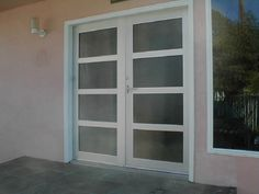 """Model: BP-450 Double Entry Door   Size: 6′ x 8′ Frame: Clear Anodized Aluminum Glass: 1/4"""" Tempered: Reeded Location: Los Angeles, CA 90046"""