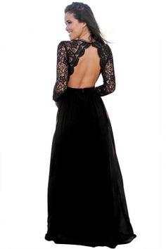 Black Open Back Long Sleeve Crochet Maxi Party Dress a7ae085d7388