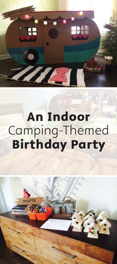 What do you do if the weather turns sour on your kiddo's big day? Bring the party inside of course with this cute indoor camping-themed birthday party. With yummy treats and sleepings bags everyone is sure to have a blast!