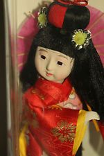 Vintage Japanese Geisha Girl Doll in box holding umbrella  kimono