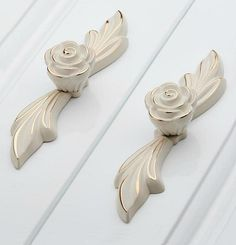 Dresser Pulls Drawer Pull Handles White Gold Rose / Kitchen Cabinet Handles Pulls Knobs Door Handle / Cupboard French Furniture Hardware by LBFEEL on Etsy