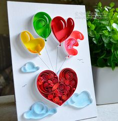 Quilling Wandkunst Ballons Paper quilling von QuillingbyLarisa