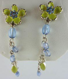 MACY'S Green Enamel Rhinestone Flower Earrings NEW in Leatherette Jewelry Box #Macys #Dangling