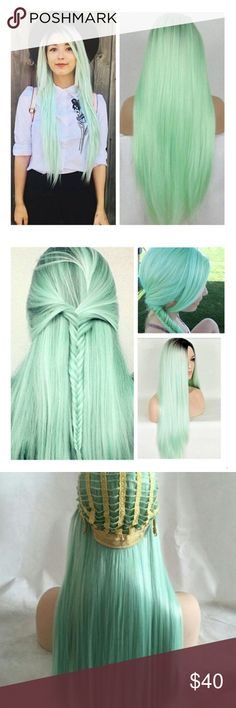 """ARIEL SUPAMINT GREEN 26"""" STRAIGHT OMBRÉ WIG *NWT* 🧜🏾♀️ ARIEL SUPAMINT GREEN 26"""" STRAIGHT OMBRÉ WIG *NWT*  New and never worn  26 inches long  Synthetic wig  Comes with part  Perfect for cos play and costume wear  7-10 day ship time  Ref : wsh21 Accessories Hair Accessories"""
