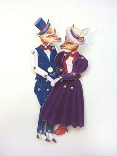Vintage Fox Couple DIY Printable PDF Paper Puppet Set Telephone Love for Paper Play, Romance, Anniversary