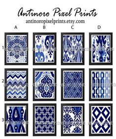 Vintage Modern inspired Art Prints Navy Indigo Blue White - Choose Any (6) Wall Art Print (UNFRAMED)  Choose any (6) Prints. Type your