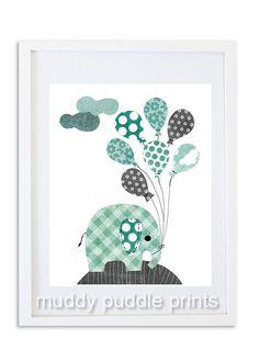 Boys Nursery decor, Elephant print, Kids room wall art, Elephant nursery art - Blue Grey Elephant and balloons on Etsy, $14.00