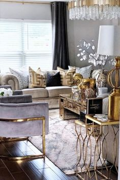 Glam Living Room, Living Room Decor Cozy, Elegant Living Room, Living Room Interior, Home Interior, Interior Design, Modern Living, Gold Living Rooms, Contemporary Living Room Decor Ideas