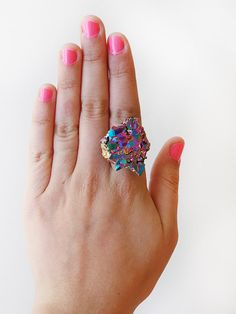 SCILIA rainbow crystal ring by FIVEANDTWOshop on Etsy