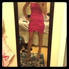 🇺🇸SALE! Adboc cocktail dress Beautiful and unique pink strapless cocktail dress. Only worn once and still has dry cleaning tags on it. Size says medium, but it is pretty tight. PERFECT for New Years Eve! Ad-boc Dresses Strapless