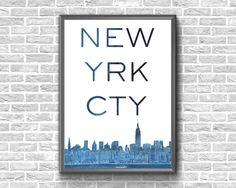 New York City Print New York Typography Print New York Printable Maps, Printable Wall Art, City Print, Typography Prints, Etsy Handmade, Art Boards, Flags, Canvas Wall Art, Cities