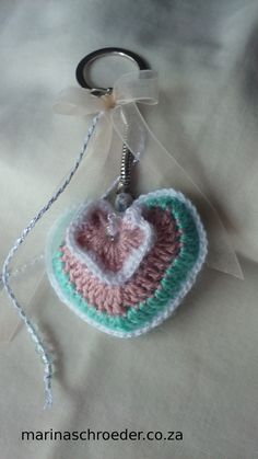All Things Creative Thread Crochet, Key Rings, Heart Shapes, Crochet Earrings, Crochet Patterns, Beads, Creative, Green, Pink
