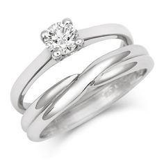 a simple crossover wedding band with indent to fit engagement ring setting in fairtrade white - Simple Wedding Ring Sets