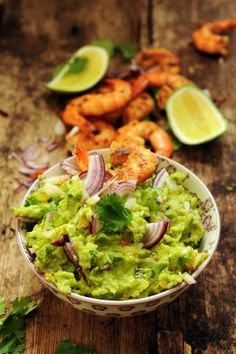 Guacamole and spicy shrimp