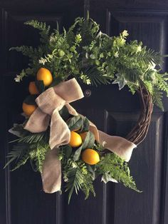 Pretty wreath at a lemon birthday party! See more party planning ideas at CatchMyParty.com!
