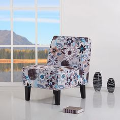 Plano Flower Print Accent Chair