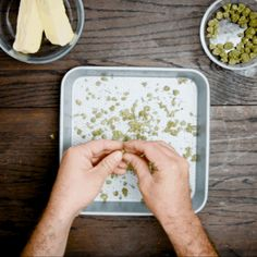 Grab your greens and break 'em up in a pan. Bake for 30 minutes at 240 degrees. | The Perfect Weed Brownie Recipe For 420