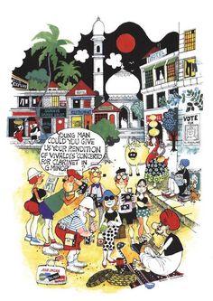 #MarioDeMiranda Cartoon Illustrations, Cartoon Drawings, Mario Miranda, Home Bar Furniture, Sketches Of People, Beach Homes, Communion Dresses, Public Spaces, Caricatures