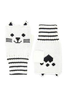Cat Print Fingerless Gloves
