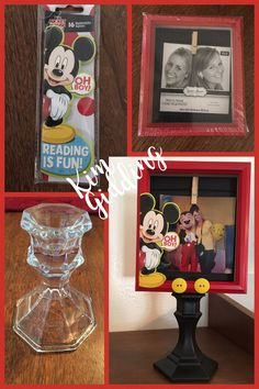 Dollar store Frame, glass candle stick, and bookmarks made into a cute Mickey Mouse frame:):):)