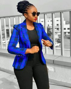 Colourful African Print Fashion Blazers For Women Source by for women African Fashion Ankara, Latest African Fashion Dresses, African Print Fashion, Corporate Fashion, Corporate Attire, Classy Work Outfits, Chic Outfits, Office Outfits, Office Wear