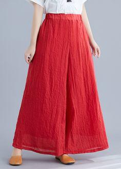 Pallazo Pants Pattern, Red Trousers, Women's Pants, Trousers Women, Red Palazzo Pants, Fashion Pants, Fashion Outfits, Simple Kurta Designs, Wide Leg Linen Pants