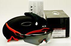 OAKLEY RADAR EV PATH Asian Fit-Polished Black-Red Socks-Black Iridium Polarized