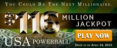 USA Powerball Rollover: US$ 116M Jackpot on April 24