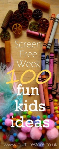 screen free week kids activities Fun things to do that do not require money or a whole lot of planning. Good list<br> 100 fun kids activities for Screen Free Week - packed full of frugal fun ideas! Craft Activities For Kids, Toddler Activities, Projects For Kids, Crafts For Kids, Summer Activities, Activity Ideas, Activity List, Kid Activites, Babysitting Activities