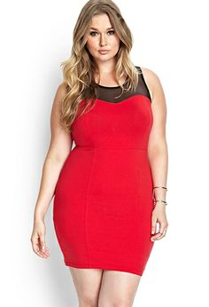 Mesh-Trimmed Bodycon Dress | FOREVER21 PLUS - 2000062356 #DressUpPartyDown